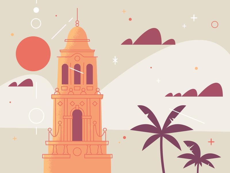 """Illustration """"Balboa Park WIP"""" design illustration color fun line work doodle illustrator building night sky sketch"""