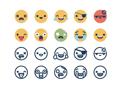 Illustration | Emojis! creative market stroked color emojis faces fun doodle illustration design