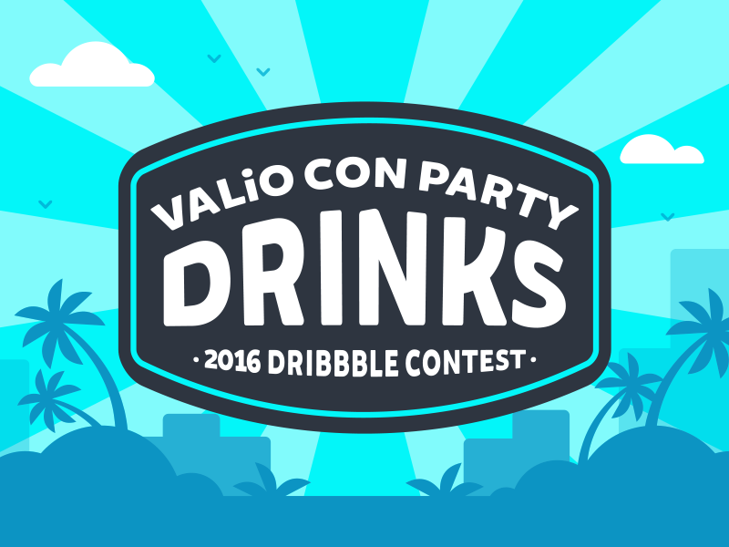 "Dribbble Contest | ""Name That Drink!"" prizes gopro drinks san diego valio con dribbble contest party typography lettering illustration design"