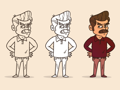 "Illustration | ""Ron Swanson Process"" character vector style exploration freelance illustrator drawing work fun doodle illustration design"