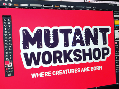 "Branding | ""Mutant Workshop Alt"" aliens creature monster logo branding drawing fun doodle illustration design"