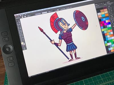 "Illustration   ""Achilles Sticker Illustration"" colorful character vector style exploration freelance illustrator drawing fun doodle illustration design"
