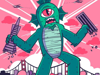 Illustration | Kaiju Movie Poster adobe illustrator draw adobe live adobe poster monster kaiju illustration doodling design