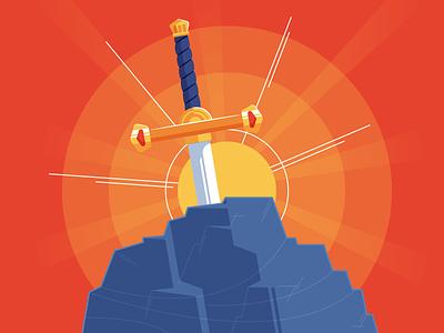 "Illustration | No. 3 - InterGalactiCon ""Sword in the Stone"" startup california comics nerd space robot flat vector color illustration branding design"