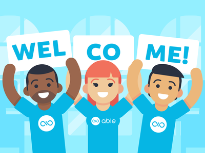 """Illustration   """"Welcome to Able"""" design branding color flat illustration space onboarding colorful doodle startup"""