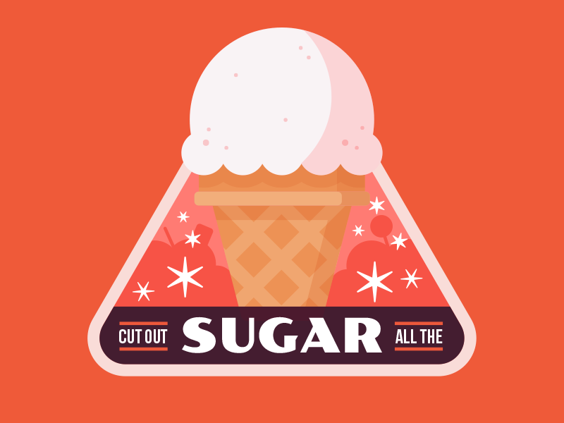 "Badges | ""Wellness Journey: Cut Out All Sugar"" food health keto wellness fitness sugar badges vector color illustration branding design"