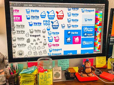 "Branding   ""Frogurt Brand Exploration"" logotype store retail frozen yogurt food logo vector color illustration branding design"