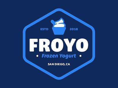 "Branding   ""FROYO Badge"" fun vector freelance typography badge logo san diego blue frozen yogurt color design brand branding"