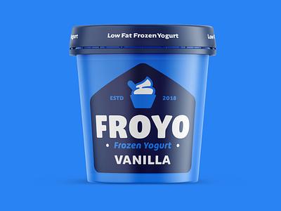 "Branding   ""FROYO Pint Packaging"" packaging mockup packaging frozen yogurt color typography logo freelance branding design"