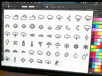 Icons | Weather Icons weather forecast weather icon weather app sun rain linestyle stroked icons lines clouds weather icons weather icons vector style freelance illustration design