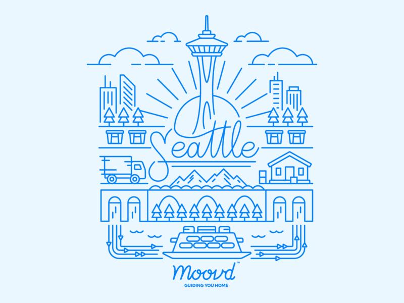 Illustration   Moovd Seattle Illustration colorful simple line work line art seattle drawing vector style freelance branding color illustrator doodle fun illustration design