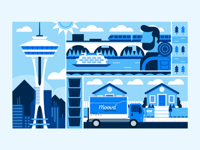Illustration | Moovd Flat Pattern Illustrration flat illustrations movers moving seattle vector style freelance branding color illustrator illustration design