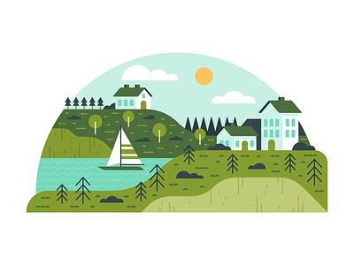 Illustration   Micro Scene No.1 sail boat boat village water scene illustration scene landscapes landscape colorful exploration vector style freelance color illustrator fun illustration design