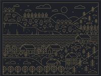 Illustration cityscape linework 2