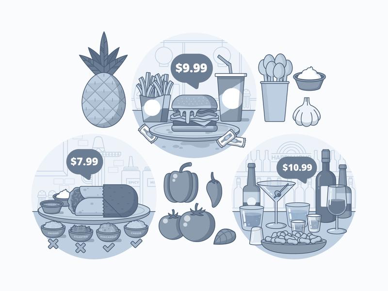 "Illustration | ""PayTouch Spot Illustrations No.1"" fries alcohol burrito burger pineapple food sales exploration style vector freelance color illustrator fun illustration design"