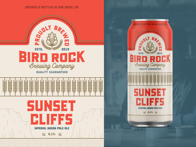 "Branding | ""Bird Rock Brewing Can Exploration No.1"" packagingdesign packaging brewery logo brewery branding beer logo beer branding beer can logo exploration vector freelance branding illustration design"