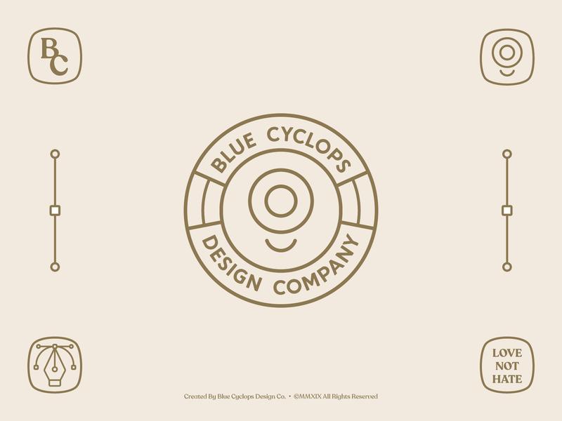 Branding | Blue Cyclops Badges badgedesign badge badges badge logo logotype mark icon typography logo freelance vector illustrator branding design