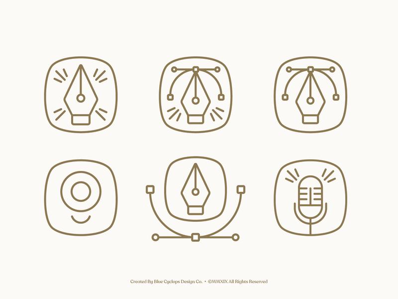 Branding | Brand Elements & Icons design studio brand brand elements mark iconset icons logo style vector freelance branding illustrator illustration design