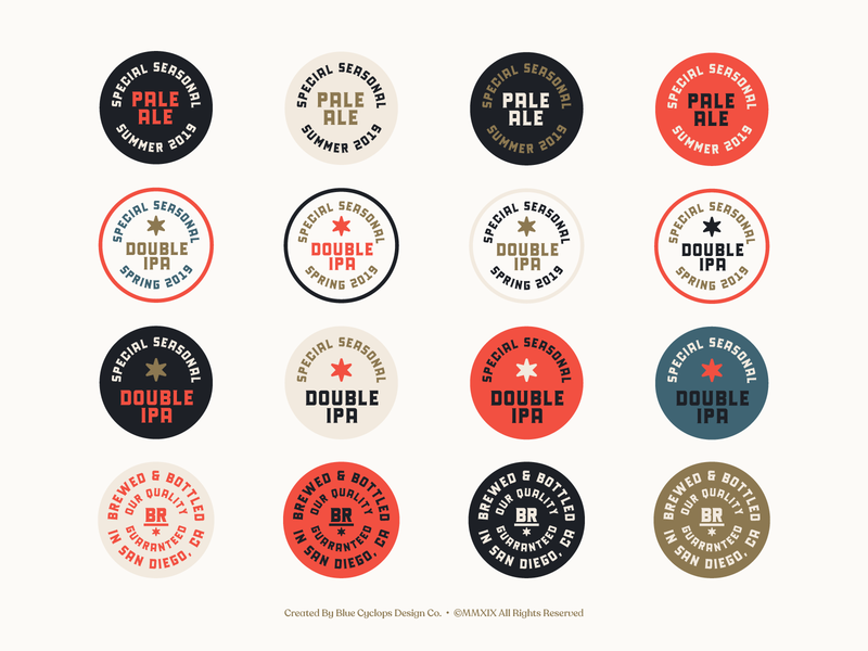 Branding | Bird Rock Brewing Co. Collection No.2 logo design branding logodesign logos stickers badge design badges exploration vector freelance branding typography logo doodle illustration design