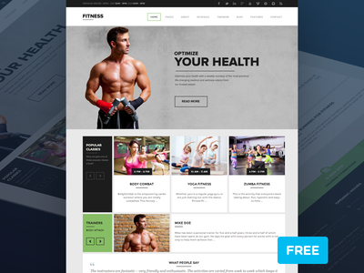Fitness - Gym & Health based PSD Theme fitness gym health psd free theme freebie