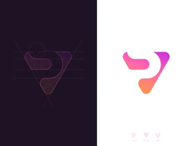 VP Triangle - Logo Design minimalistic icon monogram app logo app icon triangle brand identity grid layout abstract logo mark logo design branding clever for sale unused buy negative space smart mark p letter pv letter vp letter 36 days of type