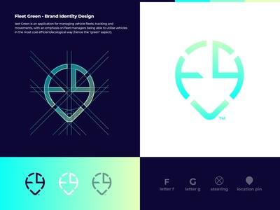 Fleet Green - Logo Design ui idea concept logo design logomark branding brand identity fleet management management connection analysis monitor creative modern gradient logo green logo car vehicle green fleet