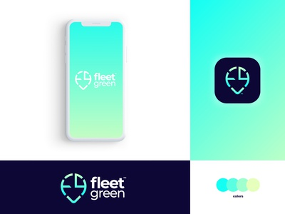 Fleet Green - Brand Identity Design uiux ui management app connect identity design car vehicle fleet management green fleet logotype designer typography logotype brand identity design logo app icon logo design logomark branding brand identity