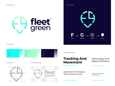 Fleet Green - Styleguides strategy logo concept color palette like vehicle wrap fg logo g logo f logo case study grid layout app logo design app icon design vehicle design fleet management ui typography app icon logo design branding brand identity