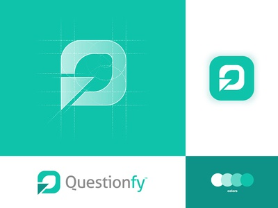 Questionfy - Logo Design green logo app icon branding brand identity logo design logo logomark typography lettermark q logo questionfy question survey logo feedback survey recruitment icons graph form dashboard