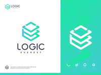 Logic Everest - Logo Design typography symbol startup software house software development logomark logotype logo design logical logic lettermark letter s letter a graphicdesign gradient brand identity designer dots circle logo branding brand identity