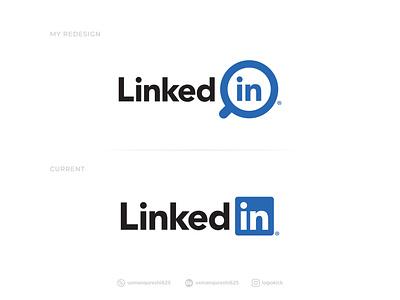 LinkedIn - Logo Redesign linked in brand identity design branding brand identity modern design concept design redesign-tuesday logo design icon design search icon job application simple refresh redesign concept redesign rebranding rebrand modern logo linkedin