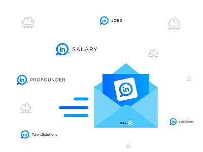 LinkedIn Logo Redesign blue graphic design typography app icon brand identity concept design new concept branding revamp rebranding redesign linkedin logo redesign linkedin logo solutions professional pro salary job board slideshare slideshow