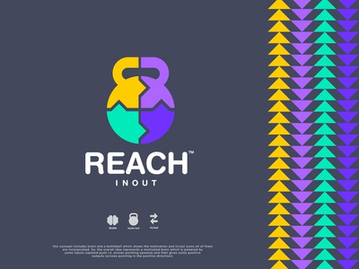 Reach In Out - Logo Design dribbble best shot inspiration kettlebell logo brain health brainstorming colorful logo motivation arrows kettle bell output input brain case study logotype designer brand identity design typography logo logo design brand identity branding