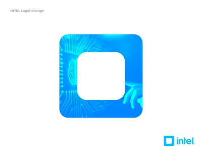 Intel Logo - Redesign Concept square symbol logomark brand identity branding human interface artificial intelligence ux logo intel logo ui blue intel xeon inside clean processor core i9 atom