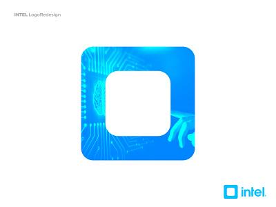 Intel Logo - Redesign Concept square symbol logomark brand identity branding human interface artificial intelligence ux logo intel logo ui blue intel xeon inside clean processor core i9 atom