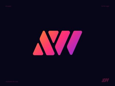 AW Letters Logo letter aw letter a for sale unused buy lettermark 3d brand identity overlap connection gradient letter  w outline wave transport motion wire minimal mobile app icon diagram