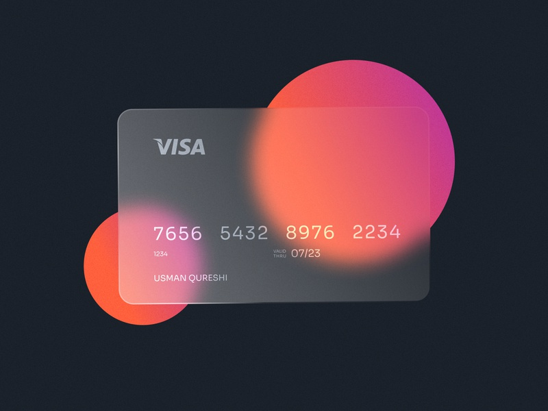 Glass Card Design frosted glass glossy circles glass money card credit card tutorial figma blur background financial finance ui clean simple modern abstarct illustration glass effect
