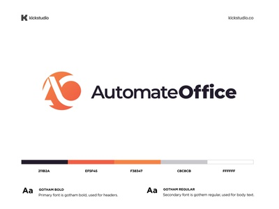 Automate office - Brand identity design brandidentity branding logo design ui branding and marketing agency branding agency color palette typography ao online office automation automate office technology tech system machine computer develop automate