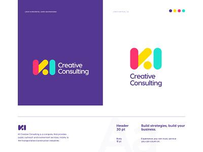 KI Creative Consulting icon app website mark consult consulting logo consulting consultation career brand identity design color palette typography app icon ui logo design logo brand identity branding print brandbook