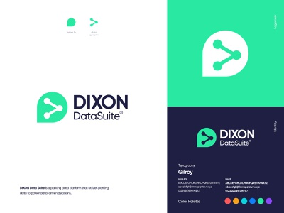 DIXON Data Suite - Logo Design brand identity connect letter d branding logo design logo car park parking booking navigation vehicle technology dixon data suite platform data visualization data map parking app