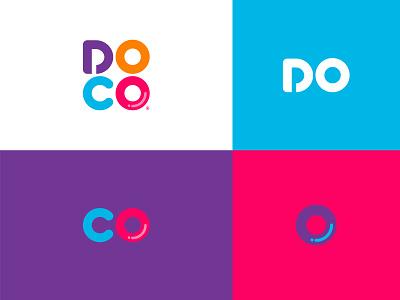 DOCO letter d colorful coffee capsules icon bean typography word mark letter mark design ui doco brand identity logo design doughnuts coffee shop coffee modern simple logo branding