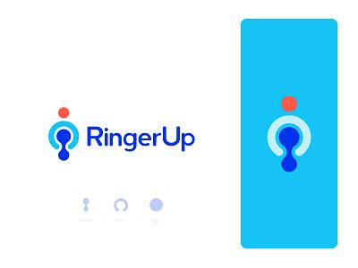 RingerUp - Logo Design ring ringerup ringer book dine in online booking digital icon mark flat abstract hotel restaurant app icon typography brand identity logo design branding dining food
