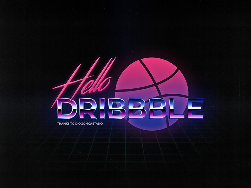 Hello Dribbble! game futuristic old-school type style neon typography arcade 80s shot first retro dribbble hello