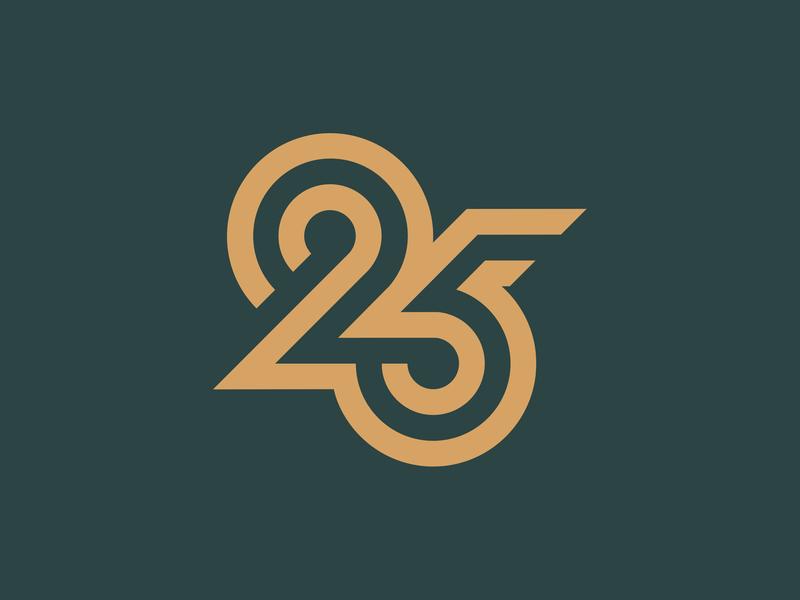 Number 25 numbers 5 2 25 green branding letter design typography type twentyfive five twenty number monogram logo logo monogram