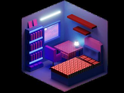 A Room website animation web ux ui art digital illustration minimal illustration design blender3d