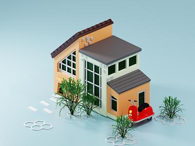 3D HOUSE BLENDER logo art digital illustration vector blender illustration minimal design motion graphics graphic design 3d