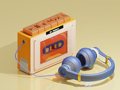 Cassette: 3d Design art graphic design digital illustration vector illustration minimal design blender 3d