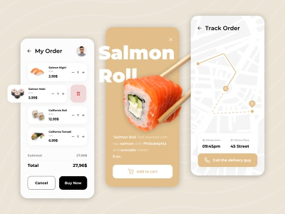 Food Delivery | Mobile App 🍣🥢 dj 2020 trend app drink sushi app sushi ios app design food delivery app food delivery application food delivery service ui food and drink ux minimal food delivery food app mobile ui app design mobile app 2020 ui trends