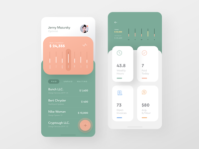 Invoice Machine / Debut 🙌 fintech finance pastel flat simple. dashboard list invoice ios ux ui
