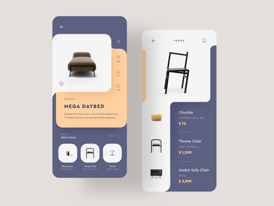 Curvy AF 🕺 af sexy simple minimal furniture shop mobile flat dashboard browse list iphone app ux ios ui